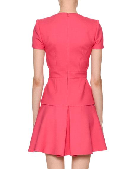 Short-Sleeve V-Neck Wool-Blend Mini Dress