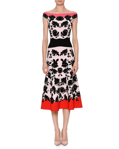 Off-the-Shoulder Rose-Jacquard Fitted Midi Cocktail Dress
