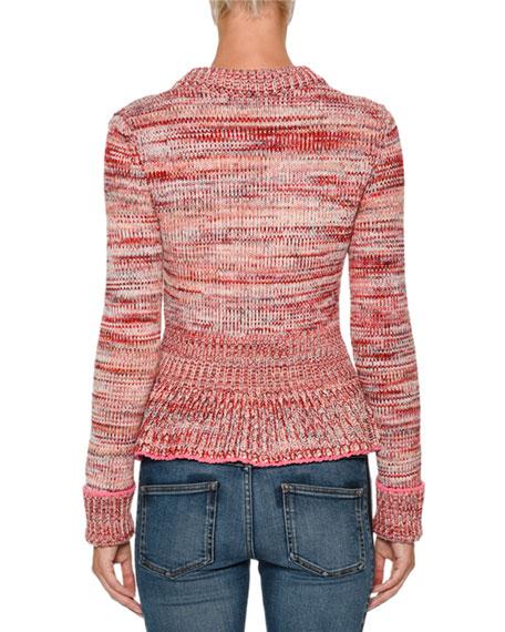 Crewneck Long-Sleeve Tweed Peplum Cardigan Sweater