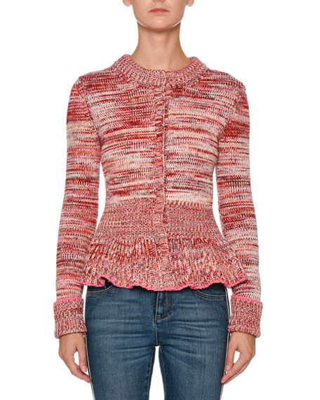 Alexander McQueen Crewneck Long-Sleeve Tweed Peplum Cardigan