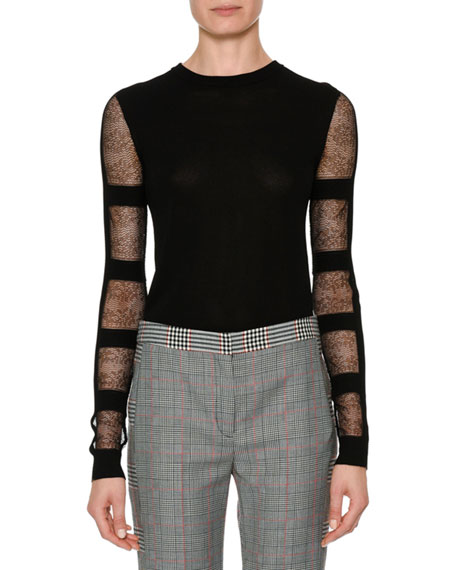 Alexander McQueen Crewneck Sheer Long-Sleeve Cropped Pullover