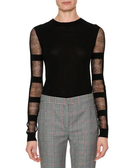 Alexander McQueen Crewneck Sheer Long-Sleeve Cropped Pullover