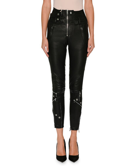 High-Waist Stretch-Leather Biker Pants