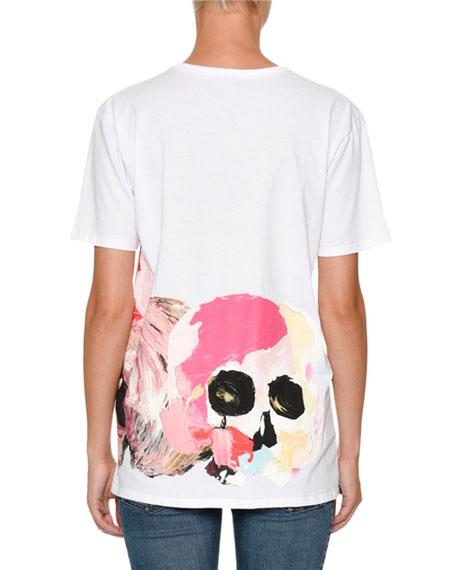 Crewneck Short-Sleeve T-Shirt with Painted Skull