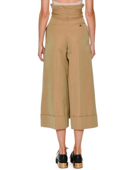 Paperbag-Waist Wide-Leg Culotte Ankle Pants