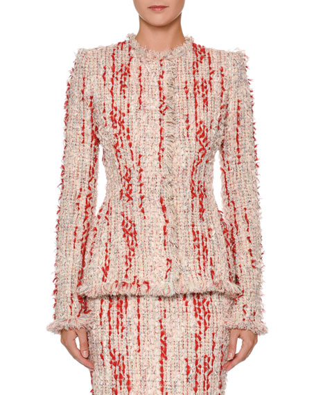 Alexander McQueen Fitted Chiffon Tweed Jacket and Matching