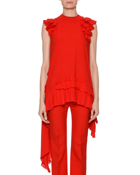 Sleeveless Asymmetric-Hem Blouse With Ruffled Trim, Red