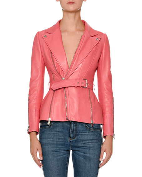 Alexander McQueen Peak-Lapels Belted Zip-Front Leather Moto