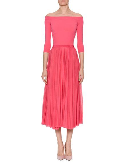 Off-the-Shoulder Belted Plisse Pleated Tea-Length Dress