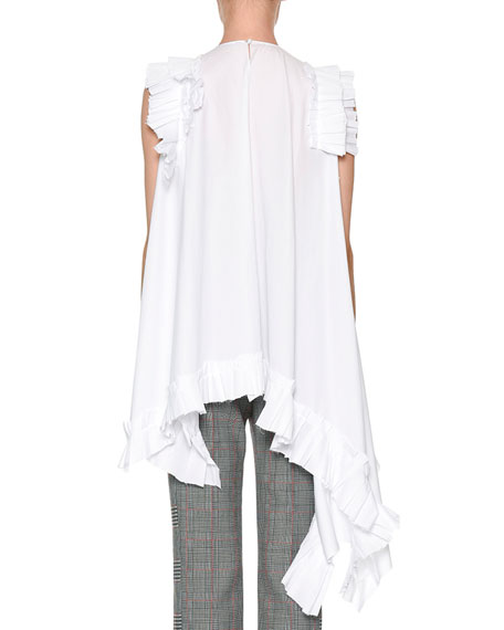 Sleeveless Asymmetric-Hem Poplin Blouse with Ruffled Trim