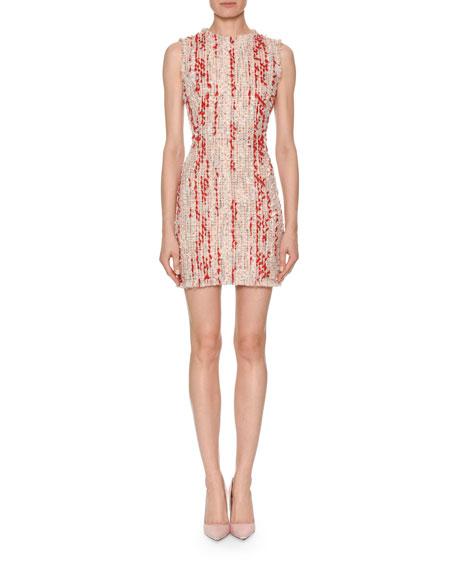 Sleeveless Petal Tweed Fitted Mini Dress with Frayed Hem
