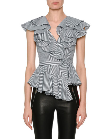 Sleeveless Striped Poplin Peplum Top with Ruffled Frills