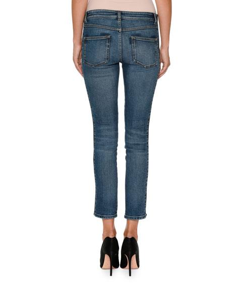 Skinny-Leg Side-Stripe Cropped Jeans