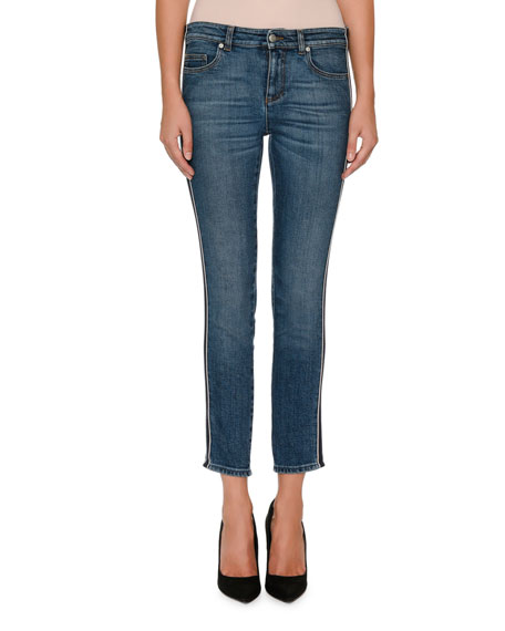 Alexander McQueen Skinny-Leg Side-Stripe Cropped Jeans and