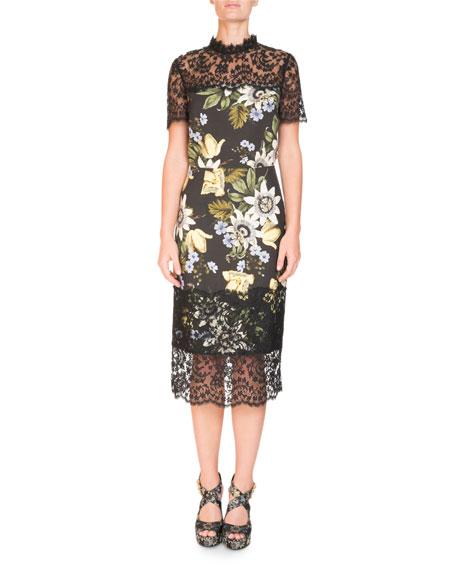 Short-Sleeve Floral-Print Sheath Midi Dress with Lace Yoke & Hem
