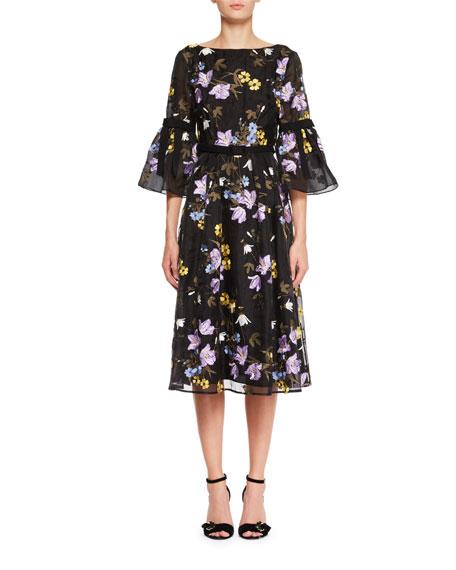 Floral-Embroidered V-Back A-Line Midi Dress