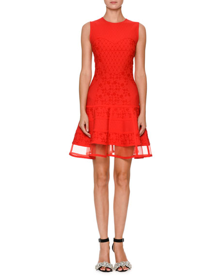 Sleeveless Jacquard-Knit Flared Dress