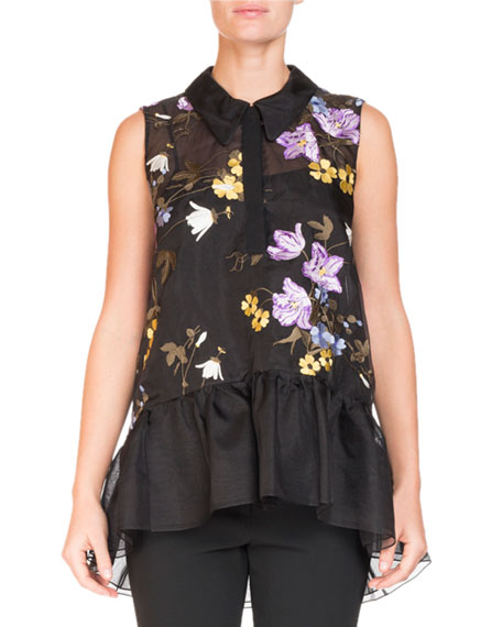 Erdem Sleeveless Floral-Embroidered Top with Ruffle Hem