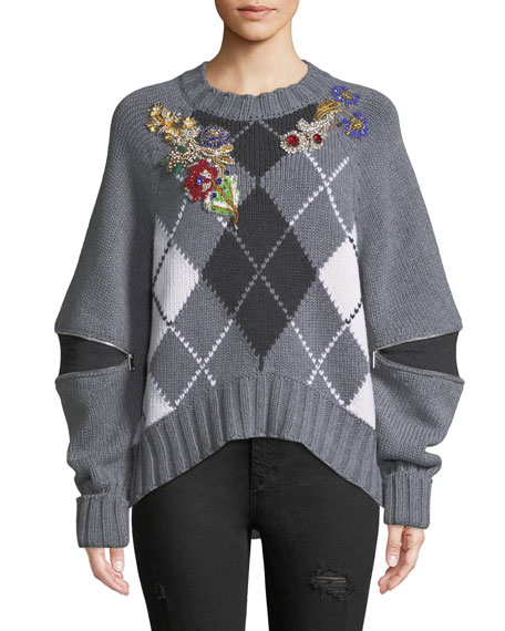 Alexander McQueen Bejeweled Zip-Open-Sleeve Argyle Wool Sweater