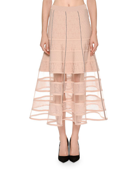 Alexander McQueen Patchwork Jacquard Lace Skirt with Crinoline