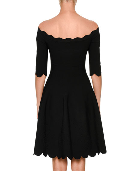Embossed Rose Fit & Flare Dress