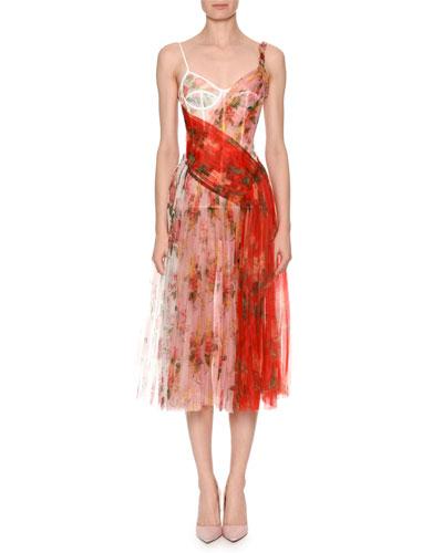 Mixed Botanical & Rose Garden Organza Pleated Corset Midi Dress