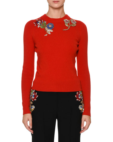 Alexander McQueen Crewneck Fitted Pullover Sweater with Jewel