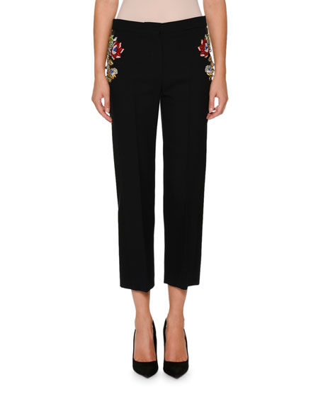 Straight-Leg Flat-Front Wool-Silk Pants with Jeweled Hips