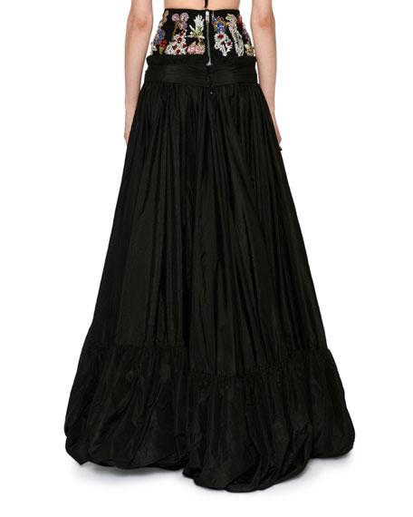 Encrusted Jewel Waist Taffeta Ball Skirt