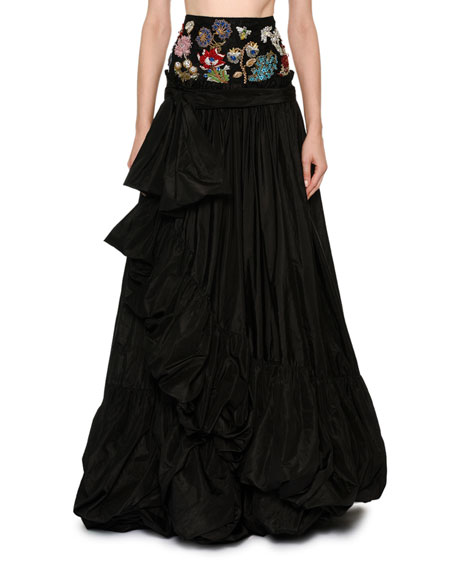 Encrusted Jewel Waist Taffeta Ball Skirt