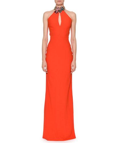Sleeveless Jeweled Halter Column Satin Back Crepe Evening Gown