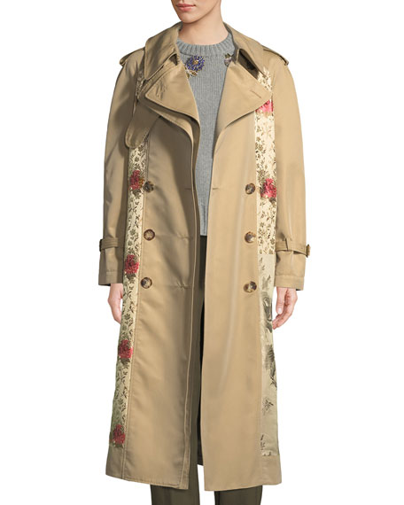 Alexander McQueen Double-Breasted Brocade Patched Long Trench