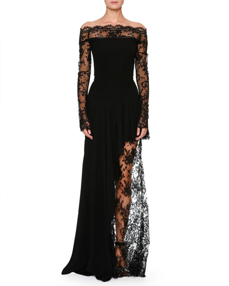 Alexander McQueen Off-the-Shoulder Lace Illusion Column Evening