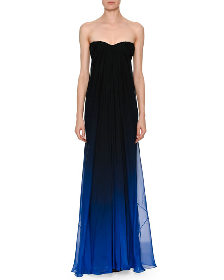 Strapless Sweetheart Chiffon Degrade Column Evening Gown