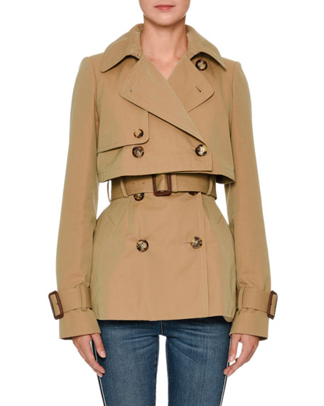 Alexander McQueen Double-Breasted Cotton Short Trench Coat