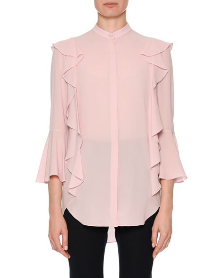 Alexander McQueen Button-Front Long-Sleeve Silk Georgette Blouse