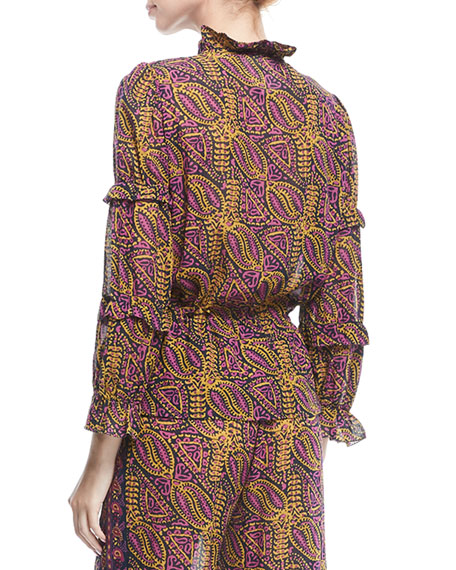 Zola Wallpaper-Print Tassel-Tie Cotton Crepe Blouse