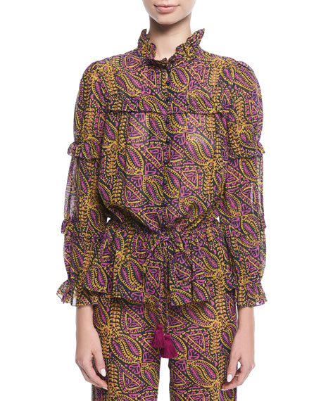 Figue Zola Wallpaper-Print Tassel-Tie Cotton Crepe Blouse