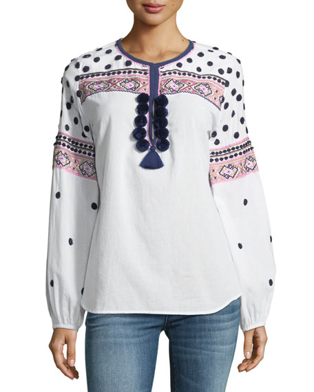 Savanah Long-Sleeve Embroidered Cotton Blouse w/ Pompom Trim