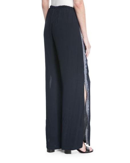 Simone Split Wide-Leg Side-Fringe Pants