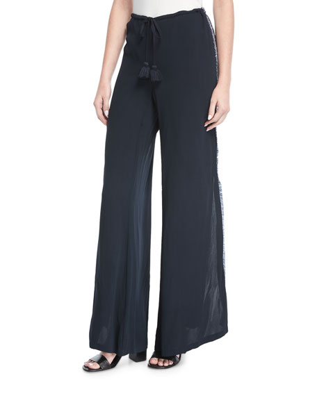 Simone Split Wide-Leg Side-Fringe Pants