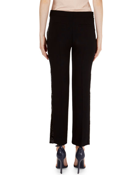 Sequin-Tuxedo-Stripe Straight-Leg Pants