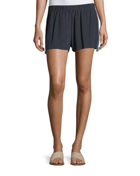 Figue Cassia Flat-Front Tux-Detail Crepe de Chine Shorts