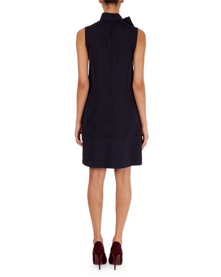 Tie-Neck Chemise Dress with Pockets