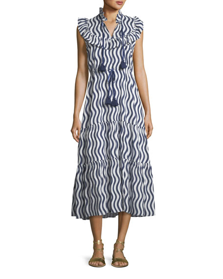 Figue Lila Sleeveless River-Stripe Midi Dress with Tassel-Ties