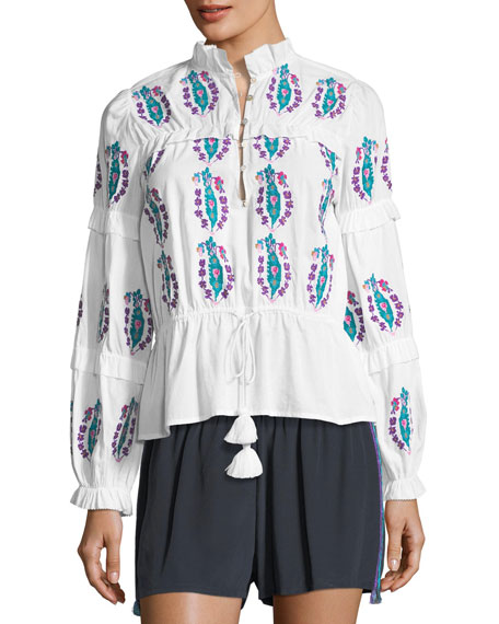 Figue Adeline Long-Sleeve Floral-Embroidered Cotton Voile Top