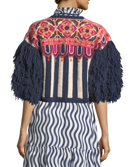 Fringed-Sleeve Intarsia-Stripe Alpaca Cardigan with Embroidery