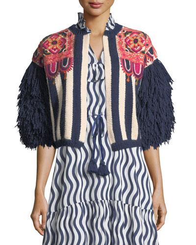 Fringed-Sleeve Intarsia-Stripe Alpaca Cardigan with Embroidery
