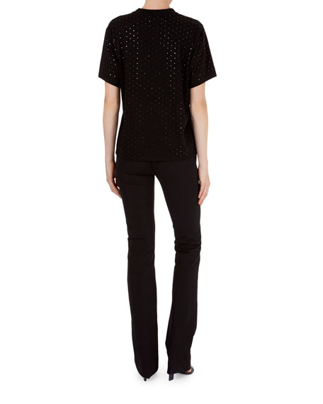 Round-Neck Short-Sleeve T-Shirt with Studs
