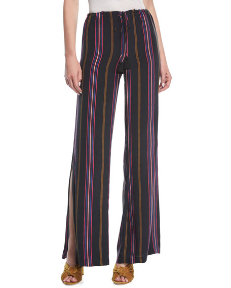 Figue Simone Ashbury Stripe Wide-Leg Silk Pants and
